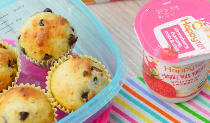 Mini Chocolate Chip Greek Yogurt Muffins with Strawberries