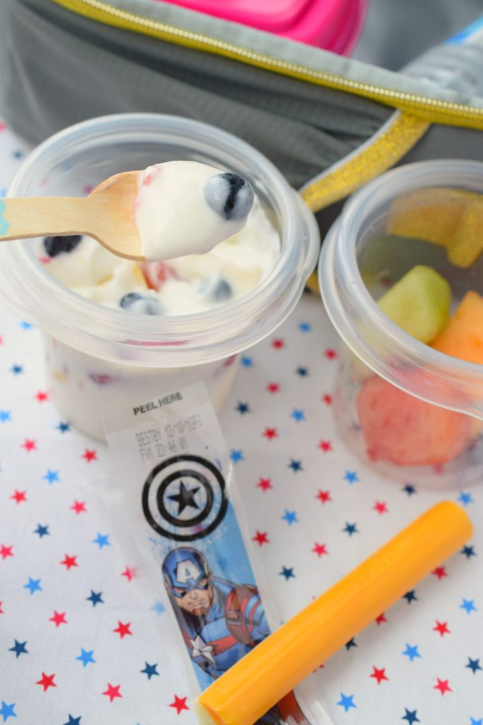 Lunchbox Creamy Fruit Salad is a great way to send some of your kids' favorites in their lunch. Customize with your family favorite flavors for a win!