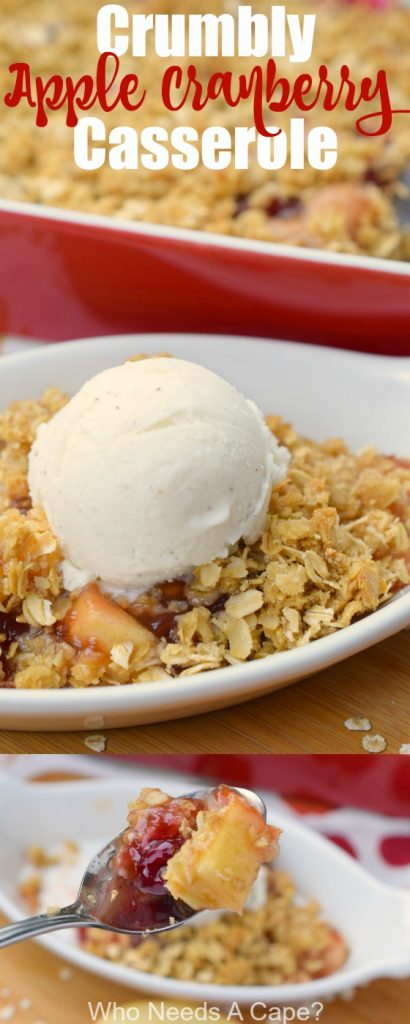 Crumbly Apple Cranberry Casserole combines some of fall's best flavors in a delicious dessert. With a crumbly oat topping, this is a great autumn dish.