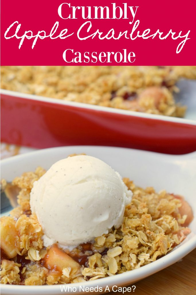 apple cranberry casserole with crumbly oat topping in white dish with scoop of ice cream next to red casserole pan