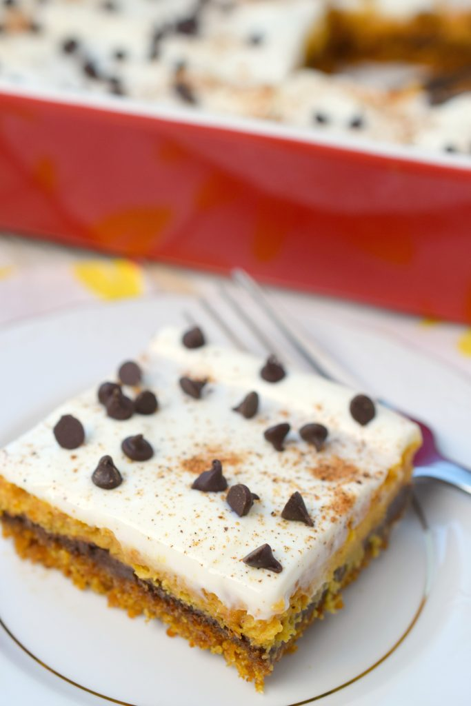 Pumpkin Chocolate Cheesecake Bars are perfect for holiday parties. With layers of delicious flavors blending into one great fall treat, you'll love them.