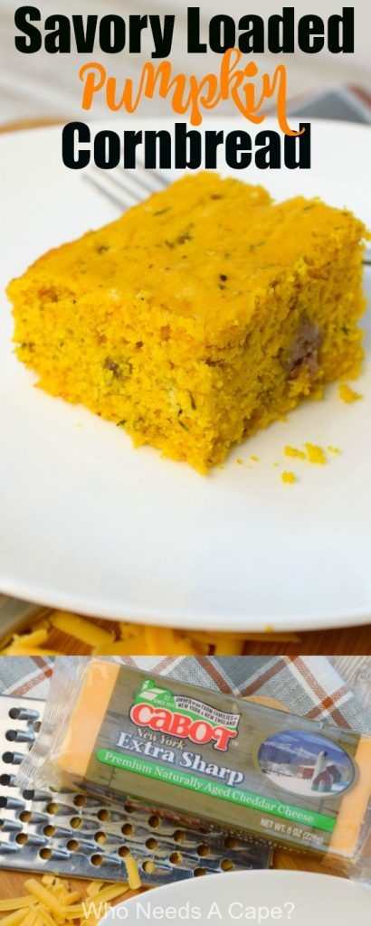 Savory Loaded Pumpkin Cornbread is a great way to enjoy fall flavors along side a bowl of chili or soup. Serve this side at holiday buffets too!