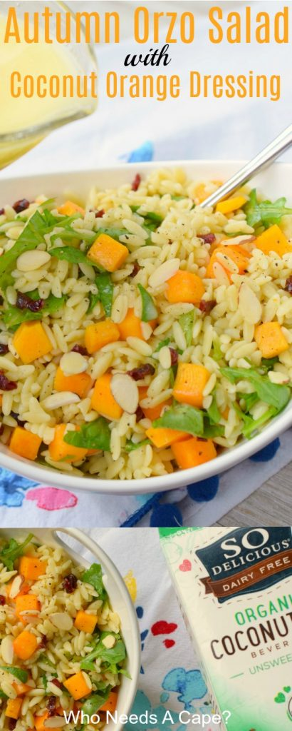 Autumn Orzo Salad with Coconut Orange Dressing is a delicious blend of flavors in a light lunch or dinner. An easy to prepare salad makes a great side dish.