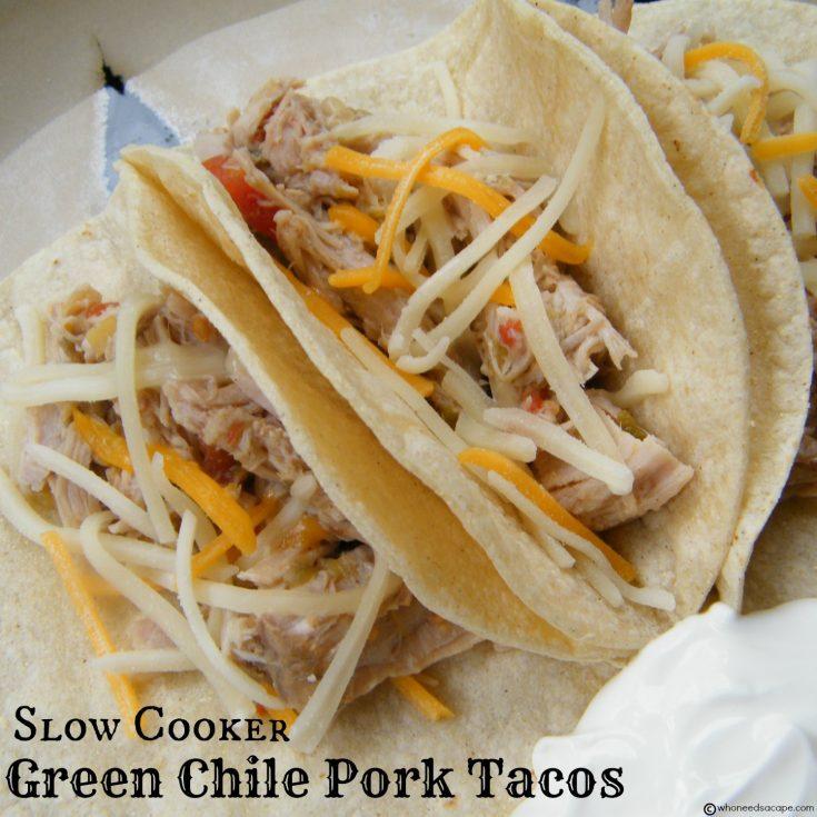 Slow Cooker Green Chile Pork Tacos
