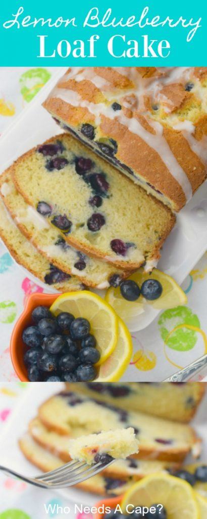 white platter on multi colored placemat with lemon blueberry loaf cake and bowl of blueberries and lemons