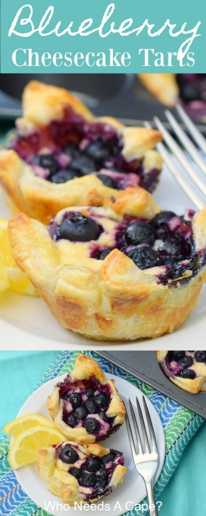 blueberry cheesecake tarts on white plate with fork on blue and green fabric next to baking pan