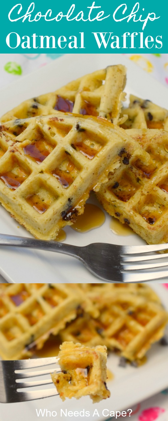 Serve these amazing Chocolate Chip Oatmeal Waffles for your next brunch. An easy to make recipe that has a touch of sweet, perfect for holiday breakfasts.