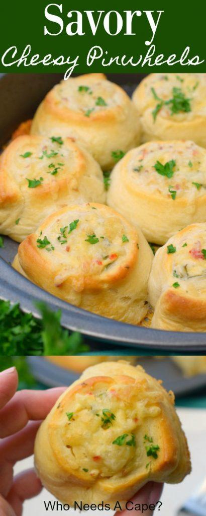 savory cheese pinwheels in metal pan with parsley next to pan