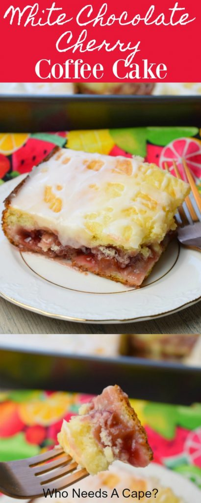 white chocolate cherry coffee cake with fork on white plate on colorful fabric next to baking pan